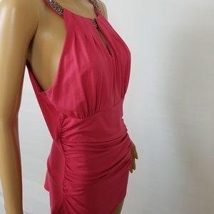 WHBM Pink Form Fitting Sleeveless Dress Medium